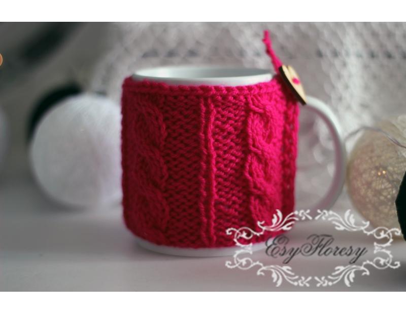 Kubek w sweterku różowy