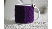 Kubek w sweterku ciemny fiolet